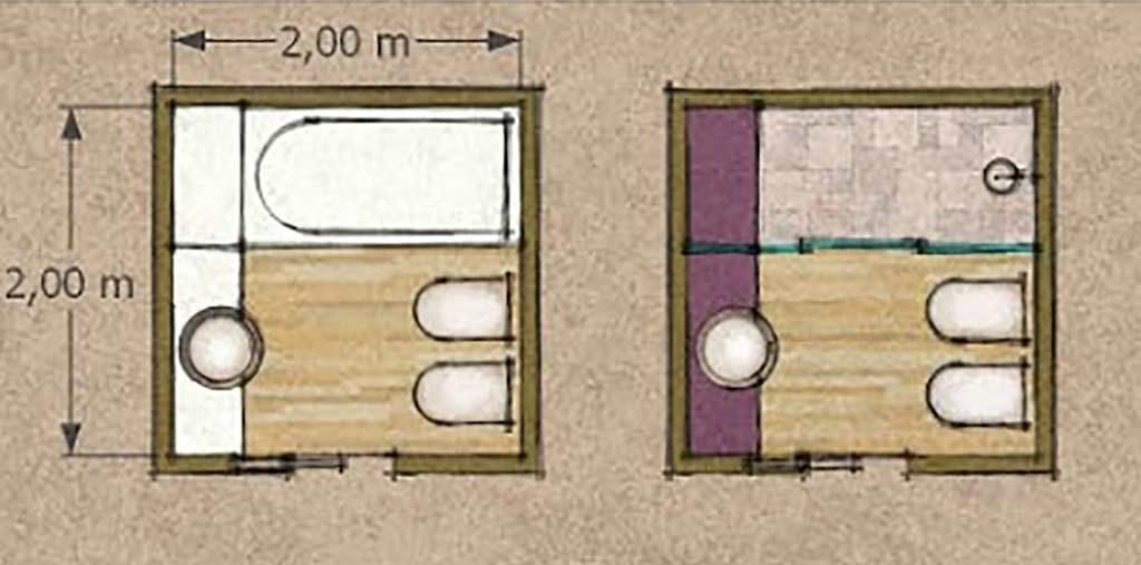 layout bagno con doccia - credits archiweb