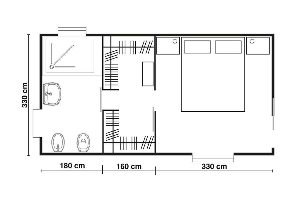 layout di una camera da letto con cabina armadio