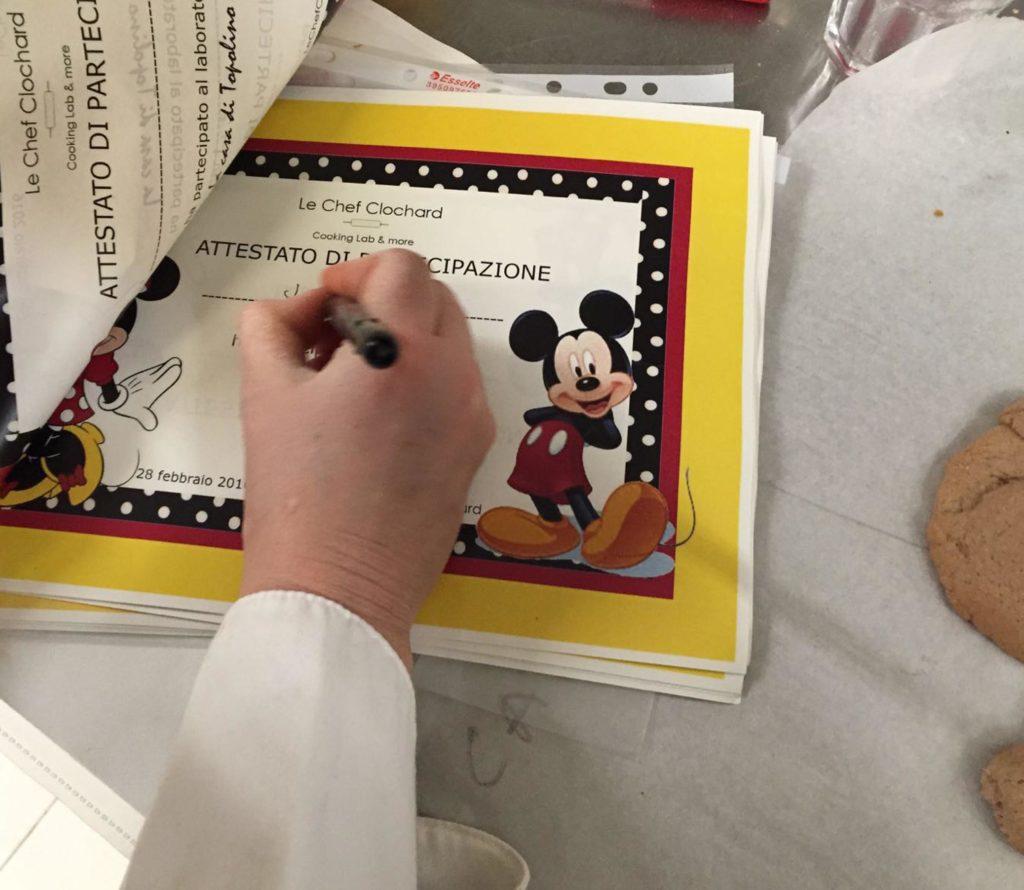l'attestato di partecipazione - laboratorio di cucina per bambini