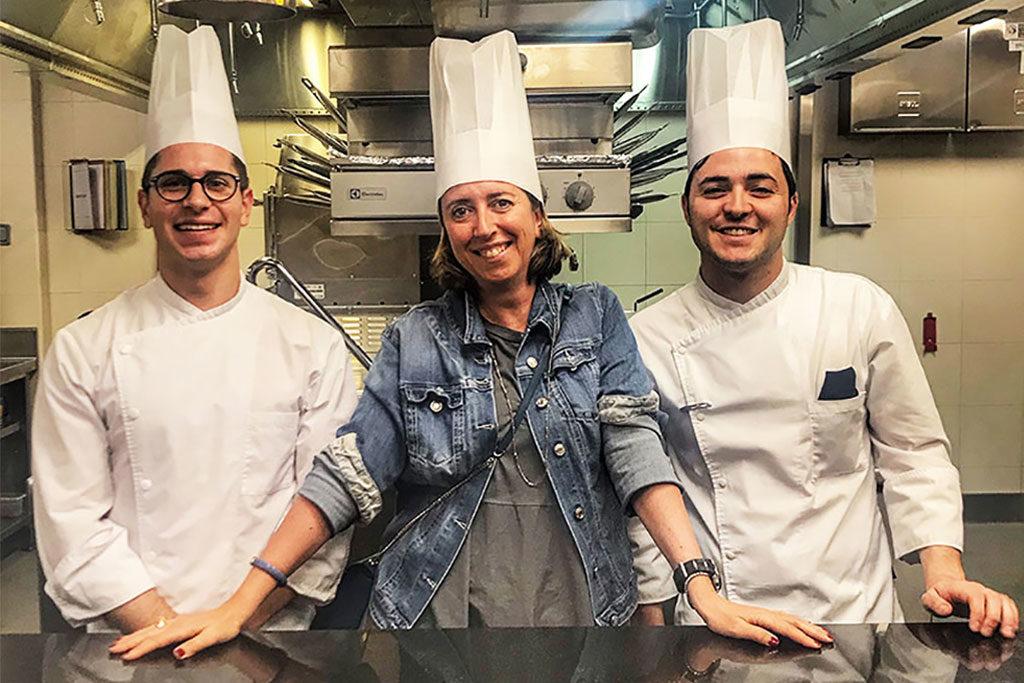 Nella cucina di Niko Romito con i suoi chef de partie Robert Moretti e Emilio di Cristo