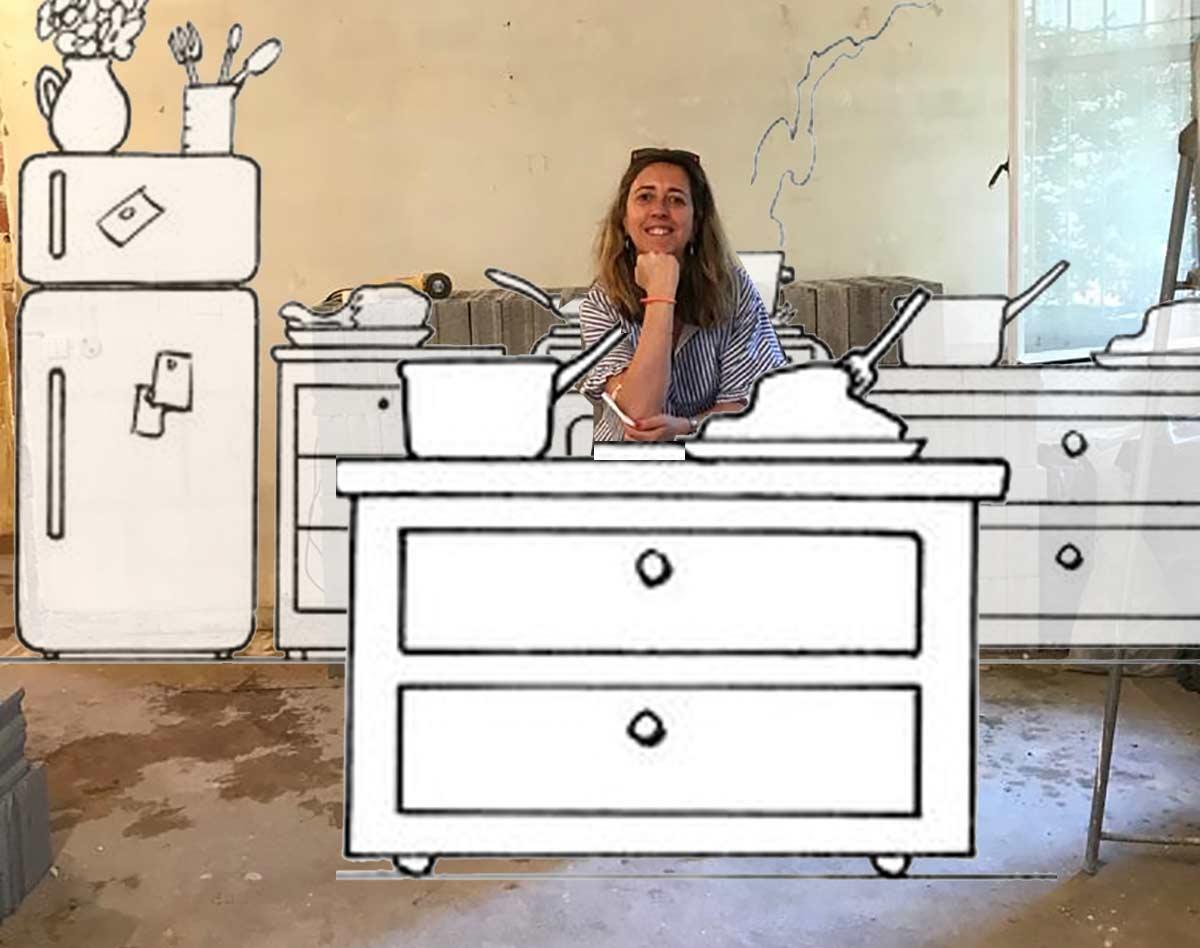 sketches di una cucina in un cantiere